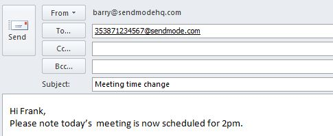 Sendmode Email to SMS Email example