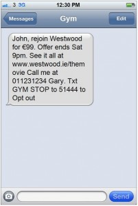 Clever SMS Marketing Examples Gym