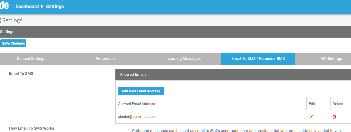 Sendmode Email to SMS Dashboard